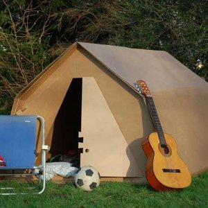 book cardboard tent kartent for Glastonbury 2020