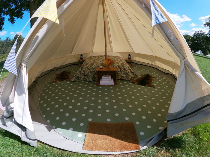 book deluxe kitted bell tent glamping