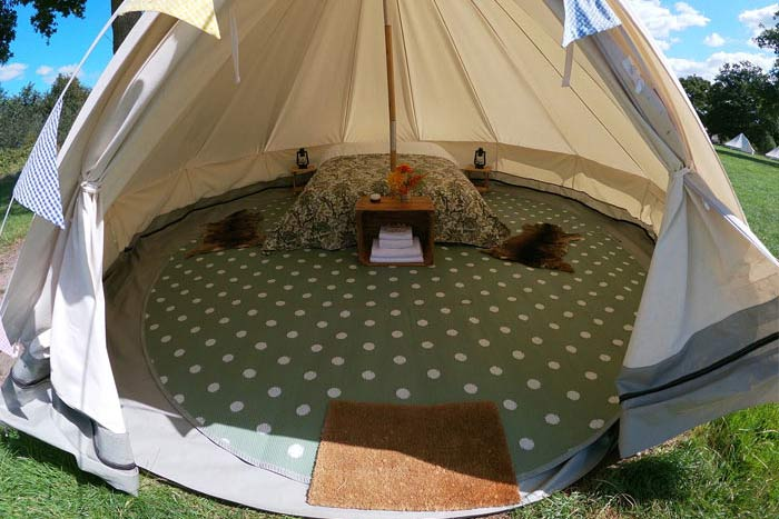 book pre erected tent for glastonbury glamping
