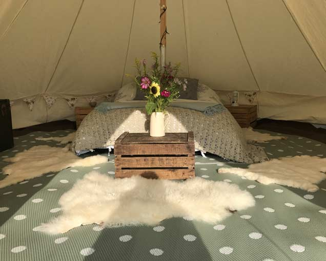 glamping bell tent glastonbury 2020
